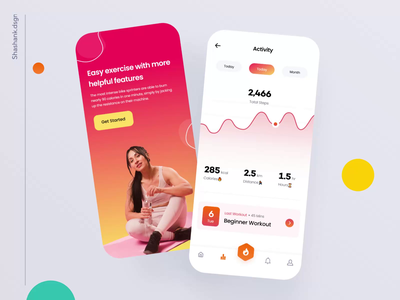 Health & Workout App 🔥 - Mobile UI interaction exercise chart minimal concept design ux ui product design workout app gym mobile ui dashboard tracker fitness tracker running fitness app fitness