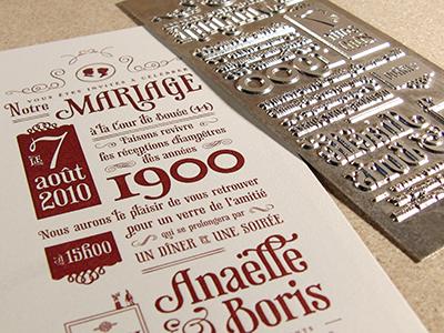 Wedding Invite - final letterpress result wedding letterpress print typography