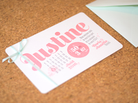 Justine announcement card