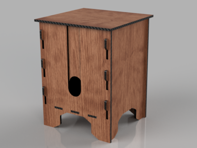 3D Render of a Boxed Wine Holder from Fusion 360