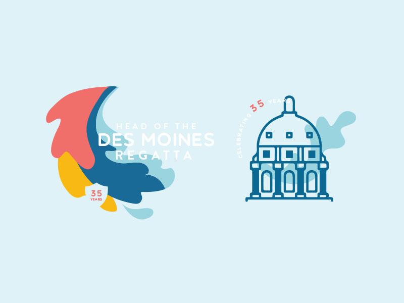 Des Moines Regatta branding sport logo sports des moines design t shirt emblem rowing ragatta water logo branding