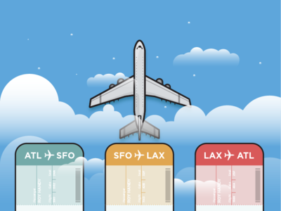 East to West sky vector vacation travel los angeles san francisco atlanta clouds icon illustration airplane ticket airplane