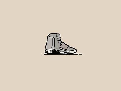Yeezy 750 Boost sneakerhead kanye yeezy atlanta flat vector black illustration icon shoes sneakers adidas