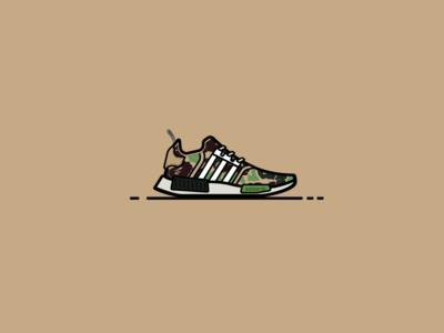 """BAPE X Adidas NMD R1 """"Camo"""" bape sneakerhead camo ape atlanta flat vector black icon shoes sneakers adidas"""