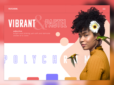 Polychrome Type Playground interface flowers nude yellow purple red outline women hero image landing page hair vibrant polychrome pastel layout typography atlanta ui