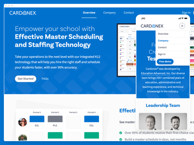 Cardonex Marketing Site marketing site ui editorial source sans pro basic sans ed tech