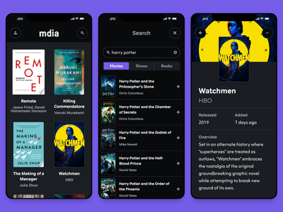mdia Dark Mode progressive web app objektiv-mk1 tondo tv shows movies books