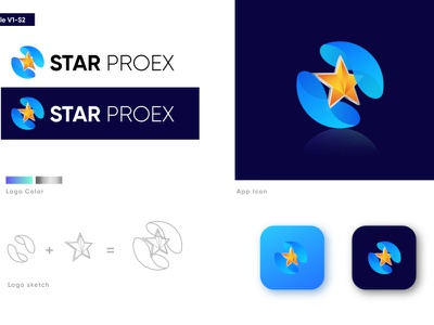Star ProEX Logo Design Project typography web corporate vector icon 3d logo 3d logo branding ux ui logodesinger logotype logoinspiration logo design modern logo