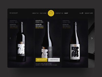 Wine E Commerce interface uidesign shop black wine web ui ux e commerce