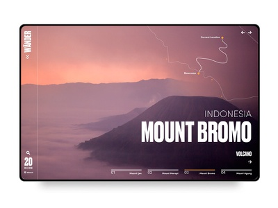 Mount Bromo Interface travel app mountbromo desktop typogaphy travel uxdesigner uxdesign webdesigner webdesign uidesign userinterface ux ui