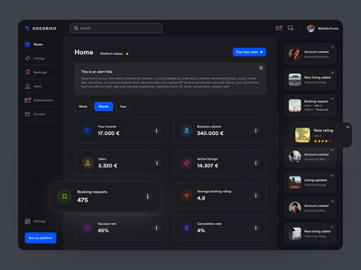 Dashboard Concept Dark Mode stats data dashboard dark mode dark typography web sketch app interface webdesign ux ui design