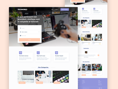 Tech Marketplace Template minimal homepage listing tech web colorful shop marketplace sketch webdesign interface ux ui design