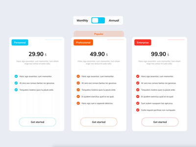 Pricing Table Design & Animation