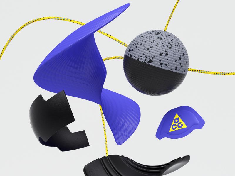 Nike ACG Zoom Air AO R&D MATERIALS octanerender maxon render otoy concept cgi c4dart digitalart cg c4d 3d nike air max nike shoes acg nike