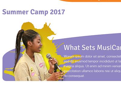 MusiCan Summer Camp Header Design web design fundraising nonprofit