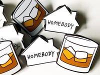Whiskey on the Rocks & Homebody Enamel Pins