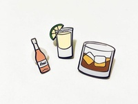 Rosé, Tequila, Whiskey Enamel Pins