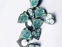 Teal Heart & Roses Enamel Pins
