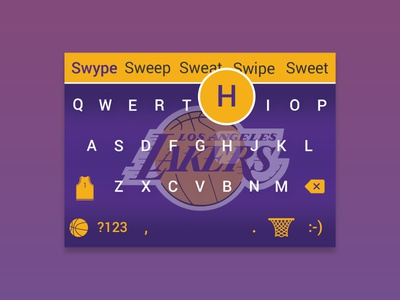 Lakers | Mobile Keyboard Skin hover state google keyboard swype nba la lakers keyboard mobile ui ui