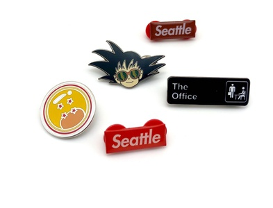 Pin Collage - Goku, Dragon Ball, Seattle Supreme, & The Office