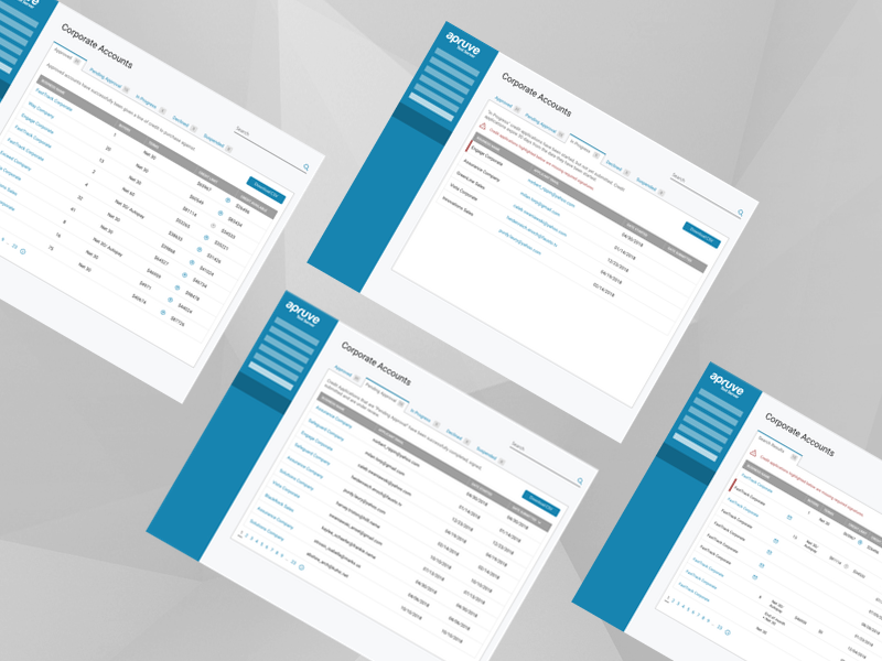 Merchant Corporate Account View tabs tables responsive