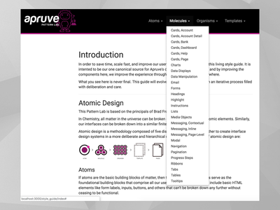 Apruve Pattern Lab atomic design responsive style guide