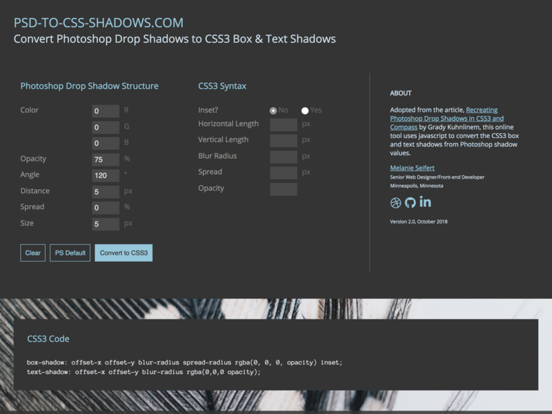 PSD-to-CSS Shadows Web Tool scss responsive