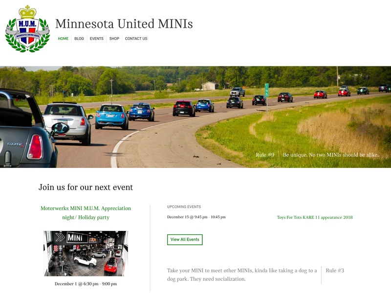Minnesota United MINIs (M.U.M.) responsive design wordpress