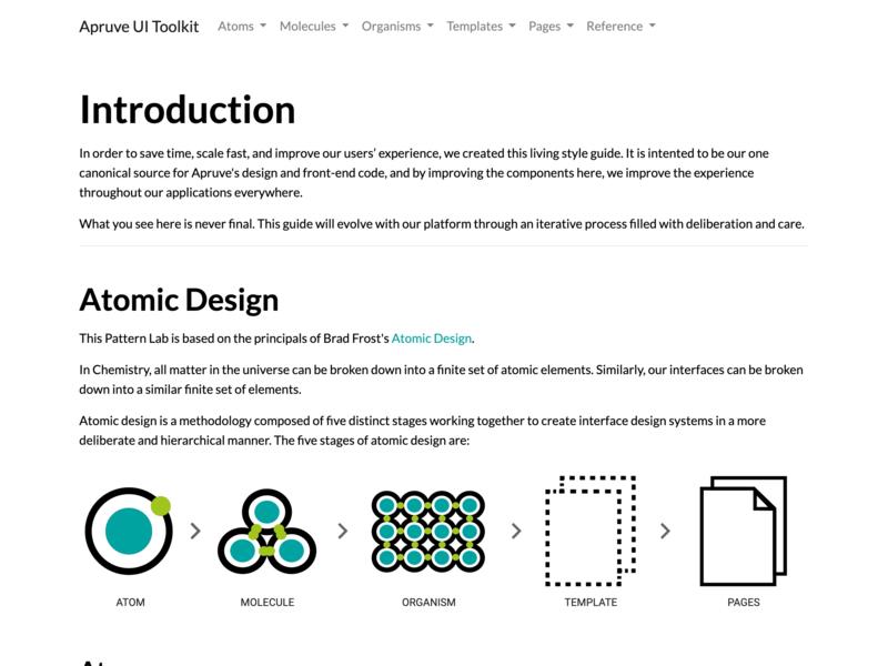 Apruve UI Toolkit pattern library atomic design responsive design ui