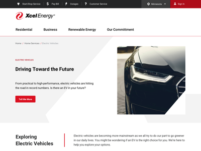 Medium Fidelity Visual Concepts for Xcel Energy Redesign ui branding responsive design