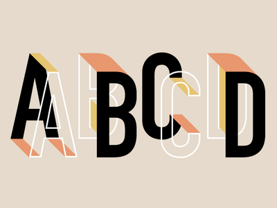 Ayy Bee See Dee condensed sans serif font 3d isometric lettering typography type