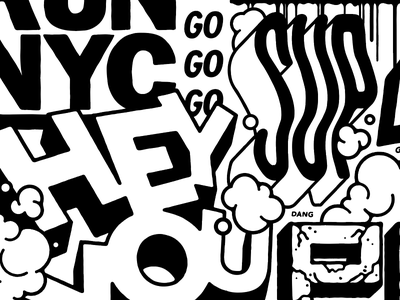 HEY YOU burner tags new york graffiti street type supreme typography lettering