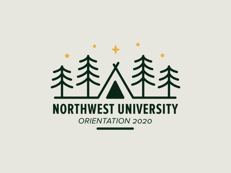 NU Orientation Logo Concept northwest monoline star university logo green trees tents