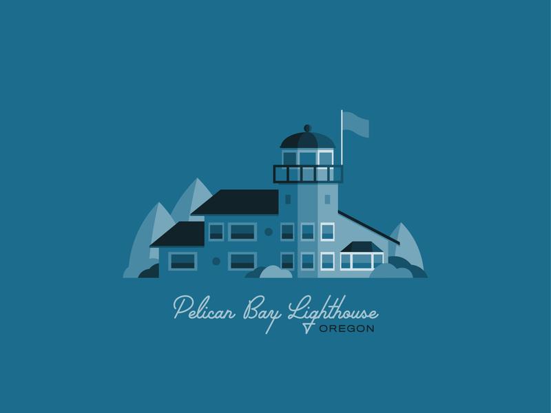 Pelican Bay Lighthouse flat illustration flat design blue pnw lighthouse logo illustration coast oregoncoast lighthouse oregon