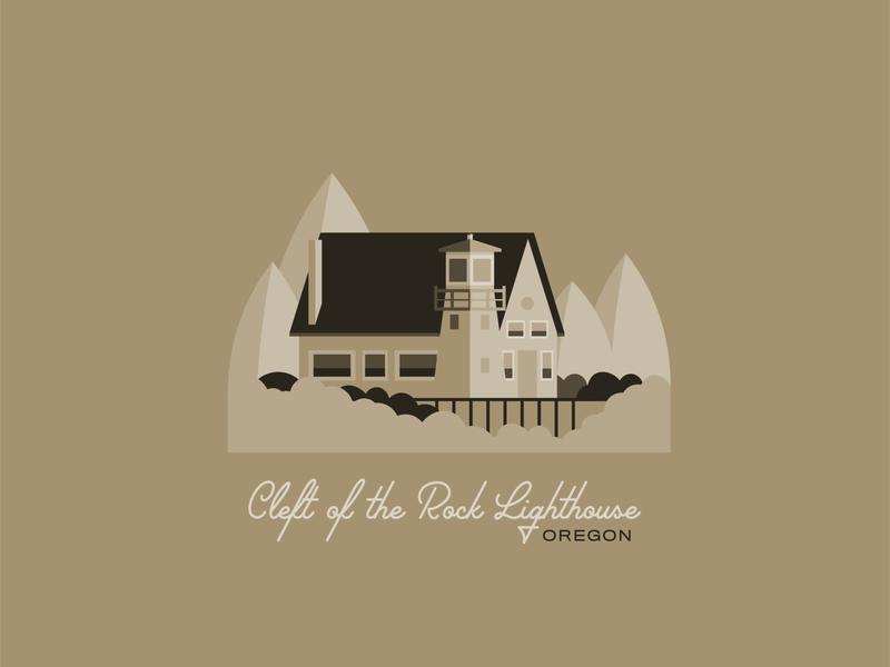 Cleft of the Rock Lighthouse pnw brown lighthouse coastal coast flat illustration flat design illustration northwest oregon