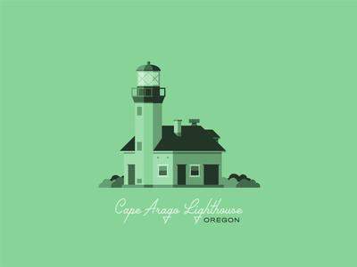 Cape Arago Lighthouse coastal flat illustration pnw northwest green lighthouse logo illustration flat design coast oregon coast lighthouse oregon