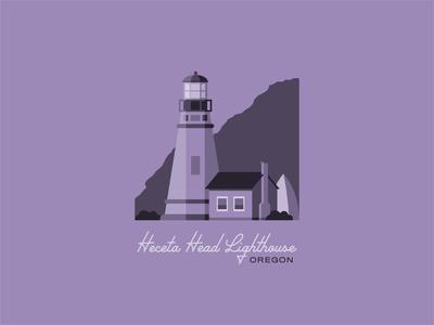 Heceta Head Lighthouse lavender purple flat illustration flatdesign pnw lighthouse logo oregon coast coast lighthouse oregon