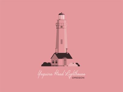 Yaquina Head Lighthouse design illustration northwest flat illustration flat design oregon coast yaquina pnw pink coastal lighthouse coast oregon
