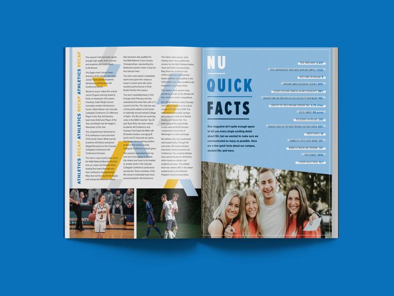 NU Pursuit Magazine Spring 2020 northwest college university students sports athletics shapes layout design layout magazine design magazine