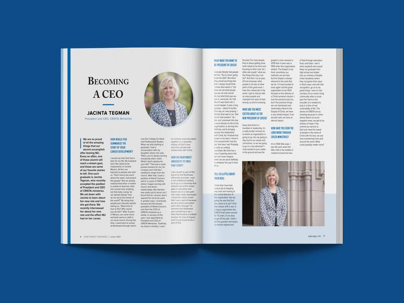 NU Passages Magazine Summer 2019 article magazine feature university college layout design layout magazine layout magazine northwest