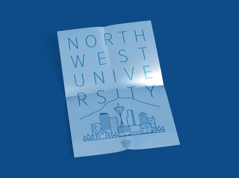 Northwest University Poster blue poster mockup swag academic college university northwest icons