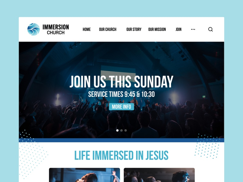 Immersion Church Landing Page website concept websites church branding church design landing page ui website design wireframe landing page website