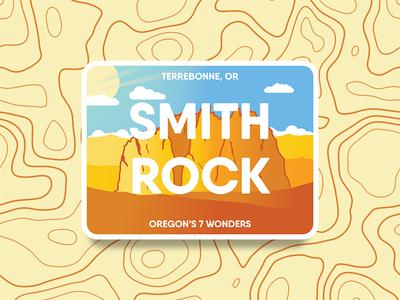 Smith Rock Badge mountain gradient desert logo badge oregon rock smith