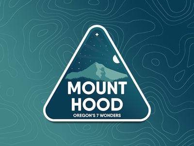 Mount Hood topography badge gradient oregon hood mountain