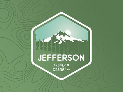 Mt. Jefferson Badge topography pnw green mountain gradient northwest logo badge