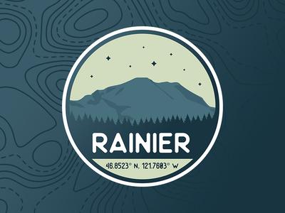 Mount Rainier, WA washingtonstate rainier blue topography pnw washington mountain gradient northwest logo badge