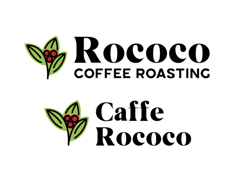 Rococo Coffee Rebrand coffee shop sanserif serif floral red green roasting cafe coffee
