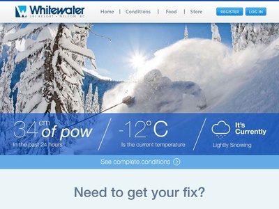 WhiteWater Ski Resort Redesign photoshop web design snow skiing graphic blue