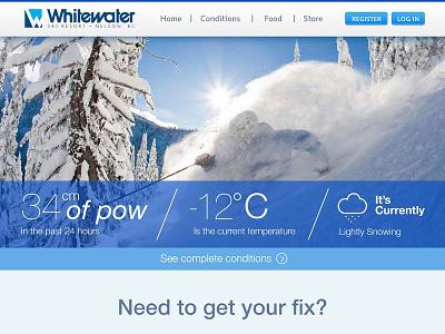 WhiteWater Ski Resort Redesign photoshop web design snow skiing graphic blue