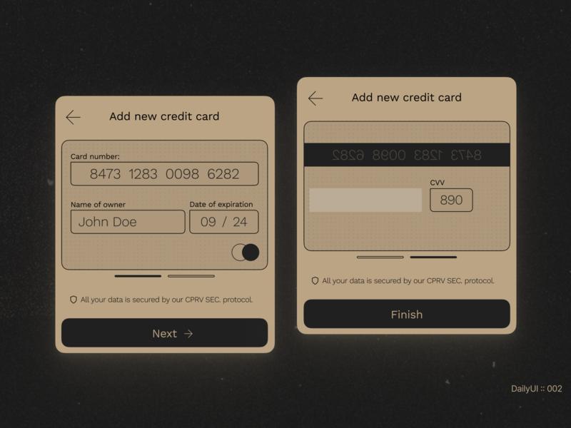 DailyUi :: 001 - Credit Card Checkout daily 100 challenge doom design app figma concept minimal dailyui